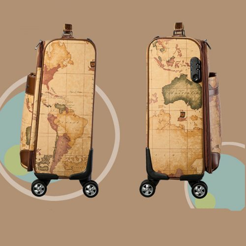 PU Leather Rolling Luggage (World Geography)